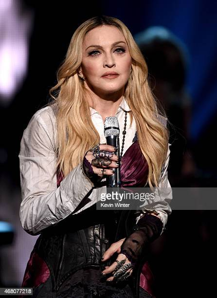 Singer Madonna performs 'Ghost Town' onstage during the 2015 iHeartRadio Music Awards which broadcasted live on NBC from The Shrine Auditorium on...