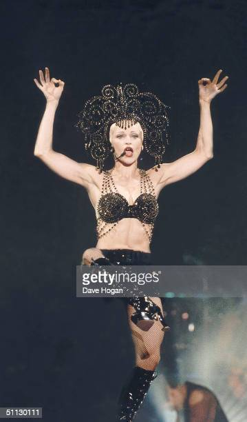 Singer Madonna performs on stage at Wembley