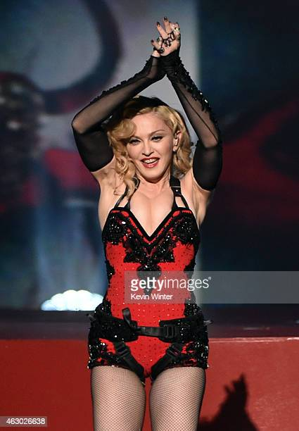 Singer Madonna performs onstage during The 57th Annual GRAMMY Awards at the STAPLES Center on February 8 2015 in Los Angeles California