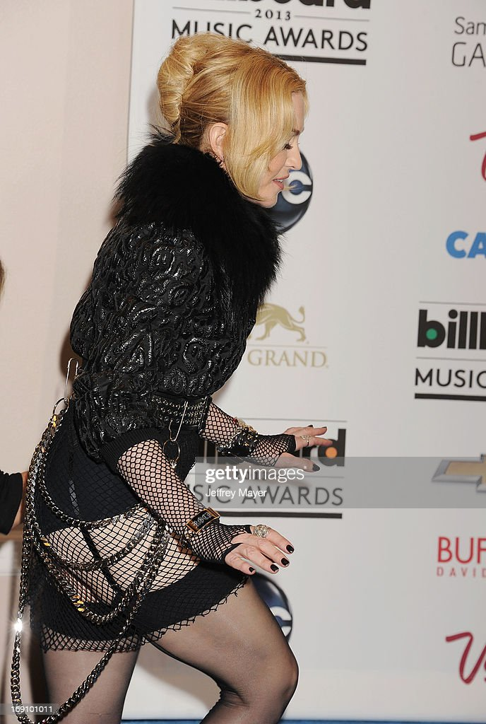 Singer Madonna poses in the press room at the 2013 Billboard Music Awards at MGM Grand Garden Arena on May 19, 2013 in Las Vegas, Nevada.
