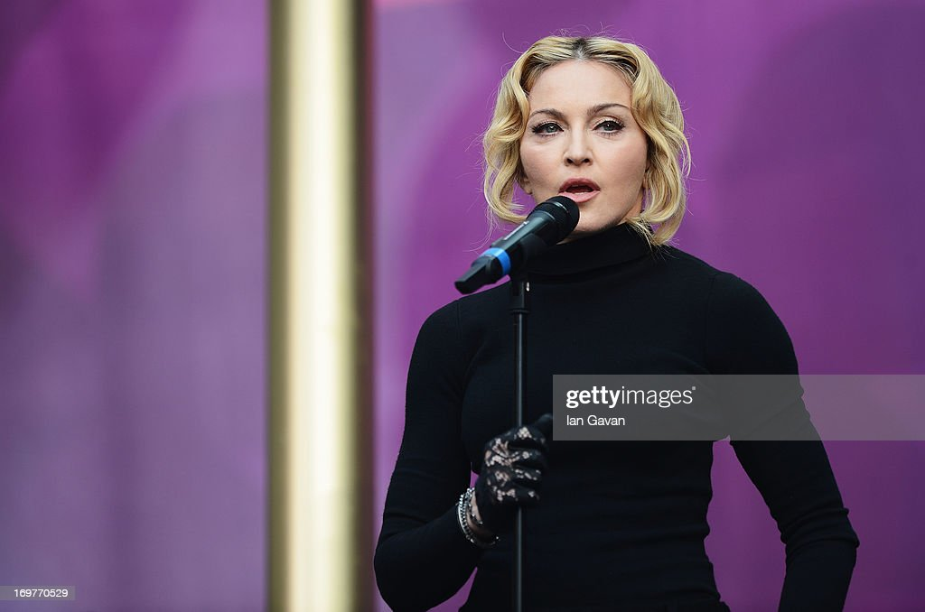 Singer Madonna speaks on stage at the 'Chime For Change: The Sound Of Change Live' Concert at Twickenham Stadium on June 1, 2013 in London, England. Chime For Change is a global campaign for girls' and women's empowerment founded by Gucci with a founding committee comprised of Gucci Creative Director Frida Giannini, Salma Hayek Pinault and Beyonce Knowles-Carter.