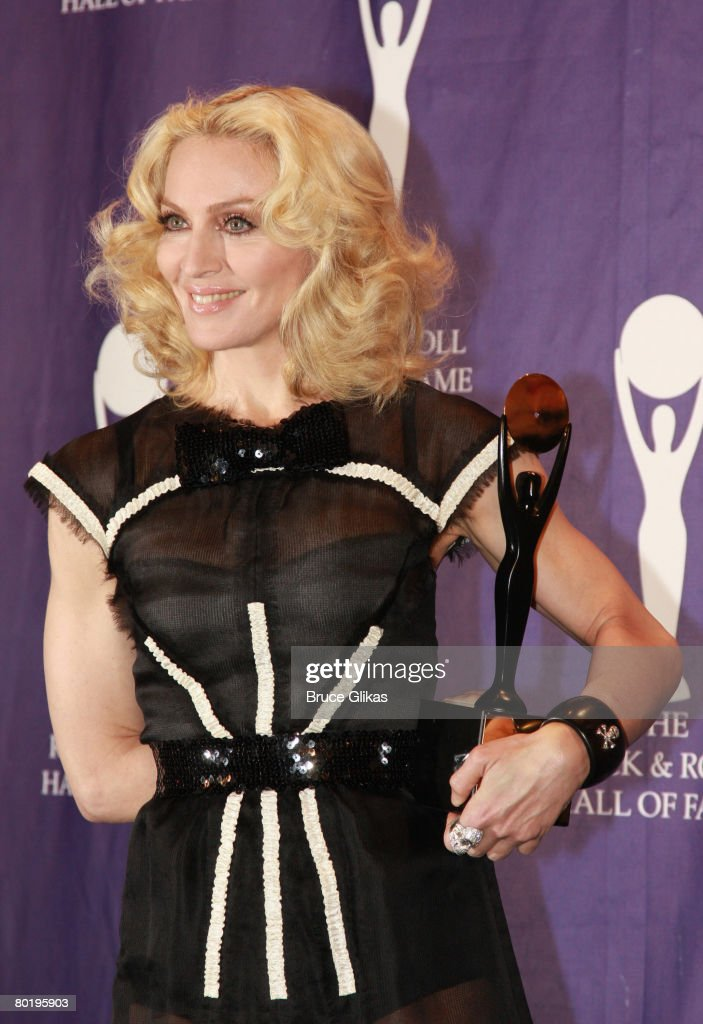 Singer Madonna who was Inducted into Rock and Rol History poses in the press room at the 2008 Rock and Roll Hall of Fame Induction Ceremony at The Waldorf-Astoria Hotel on March 10, 2008 in New York City.