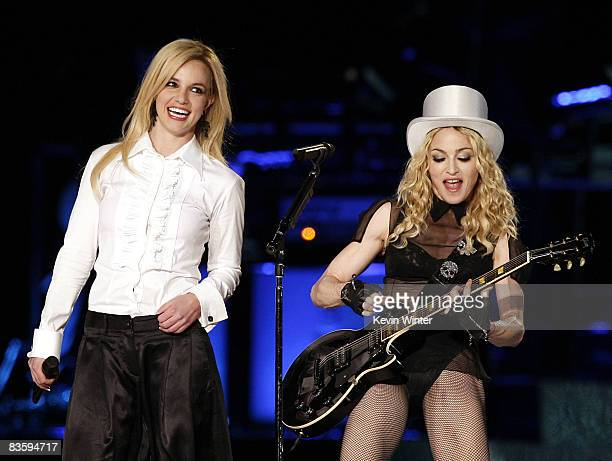 Singer Madonna with special guest singer Britney Spears performs during her Sticky and Sweet Tour at Dodger Stadium on November 6 2008 in Los Angeles...