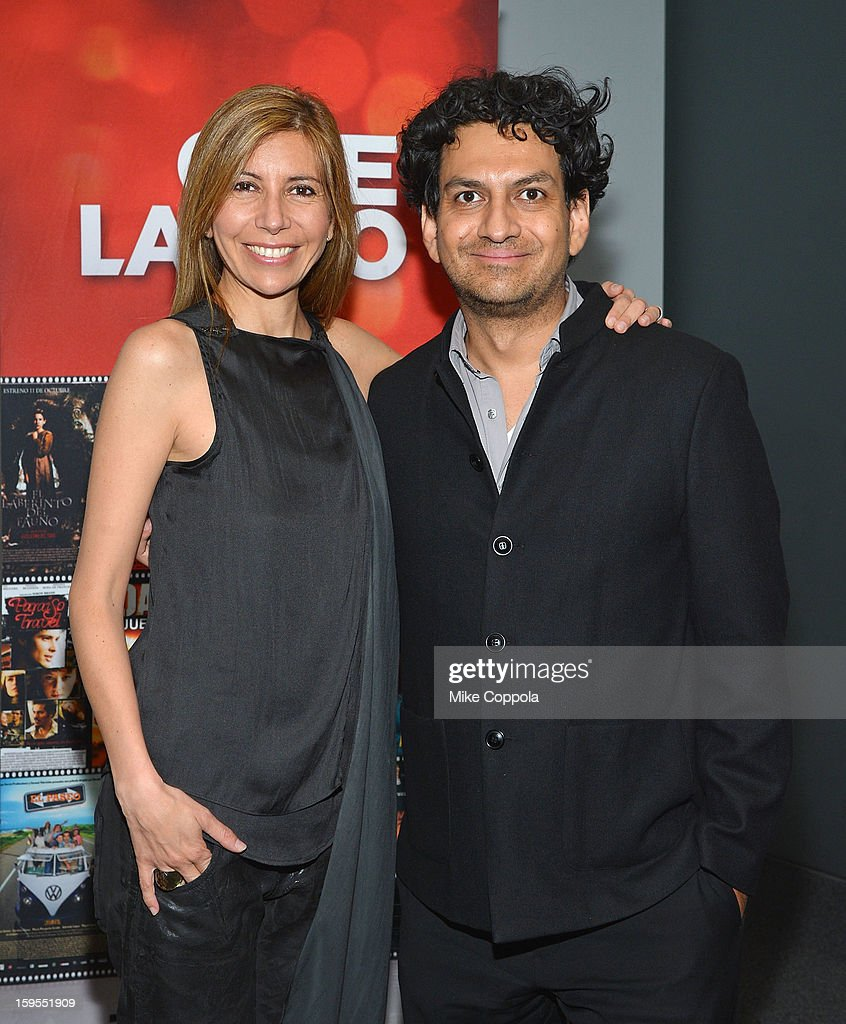 Singer Magos Herrera (L) and Carlos A Gutierrez attend 3rd Annual Cinema Tropical Awards at The New York Times Headquarters on January 15, 2013 in New York City.