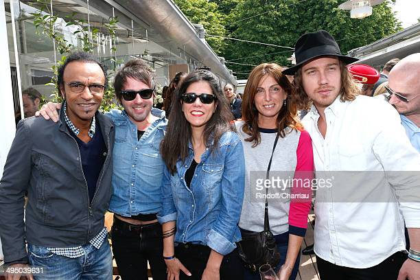 Singer Manu Katche his wife Laurence Katche guitarist Mathieu his companion Vanessa and Singer Julien Dore attend the Roland Garros French Tennis...