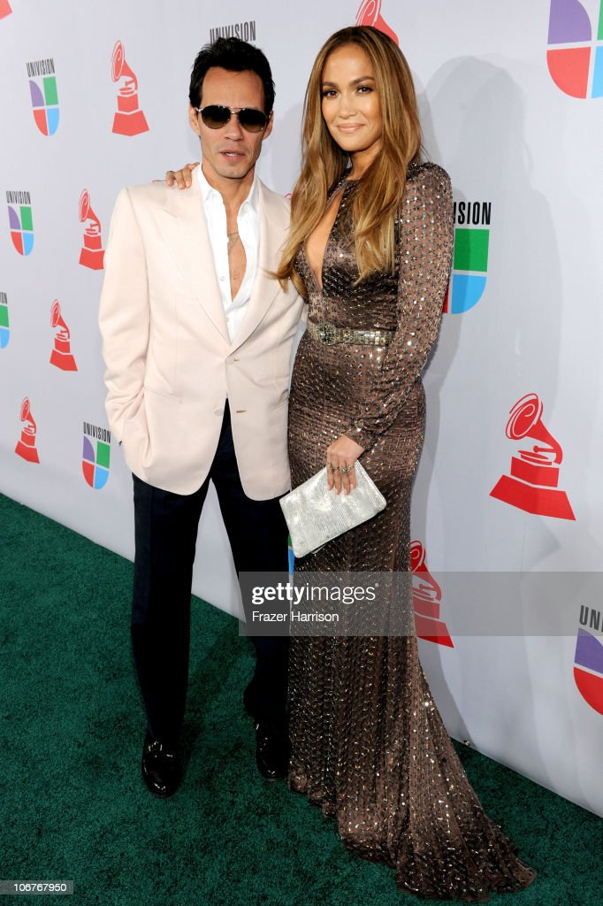 Singer <a gi-track='captionPersonalityLinkClicked' href=/galleries/search?phrase=Marc+Anthony&family=editorial&specificpeople=202544 ng-click='$event.stopPropagation()'>Marc Anthony</a> and actress <a gi-track='captionPersonalityLinkClicked' href=/galleries/search?phrase=Jennifer+Lopez&family=editorial&specificpeople=201784 ng-click='$event.stopPropagation()'>Jennifer Lopez</a> arrive at the 11th annual Latin GRAMMY Awards at the Mandalay Bay Resort & Casino on November 11, 2010 in Las Vegas, Nevada.
