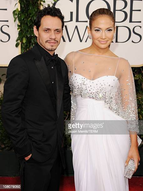 Singer Marc Anthony and singer/actress Jennifer Lopez arrive at the 68th Annual Golden Globe Awards held at The Beverly Hilton hotel on January 16...