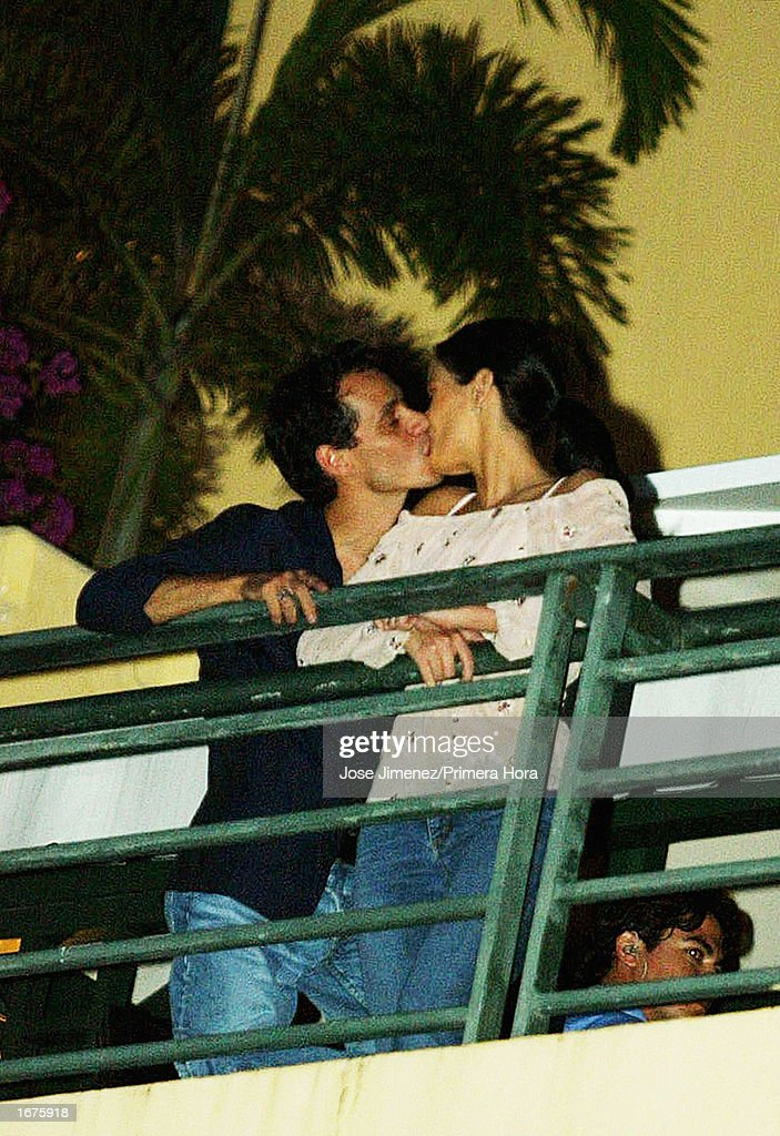 Singer Marc Anthony kisses his wife, former Miss Universe Dayanara Torres, while on a balcony at the El Convento Hotel December 6, 2002 in San Juan, Puerto Rico. The couple will have their Catholic wedding December 7, 2002 at the Old San Juan Cathedral in San Juan, Puerto Rico.