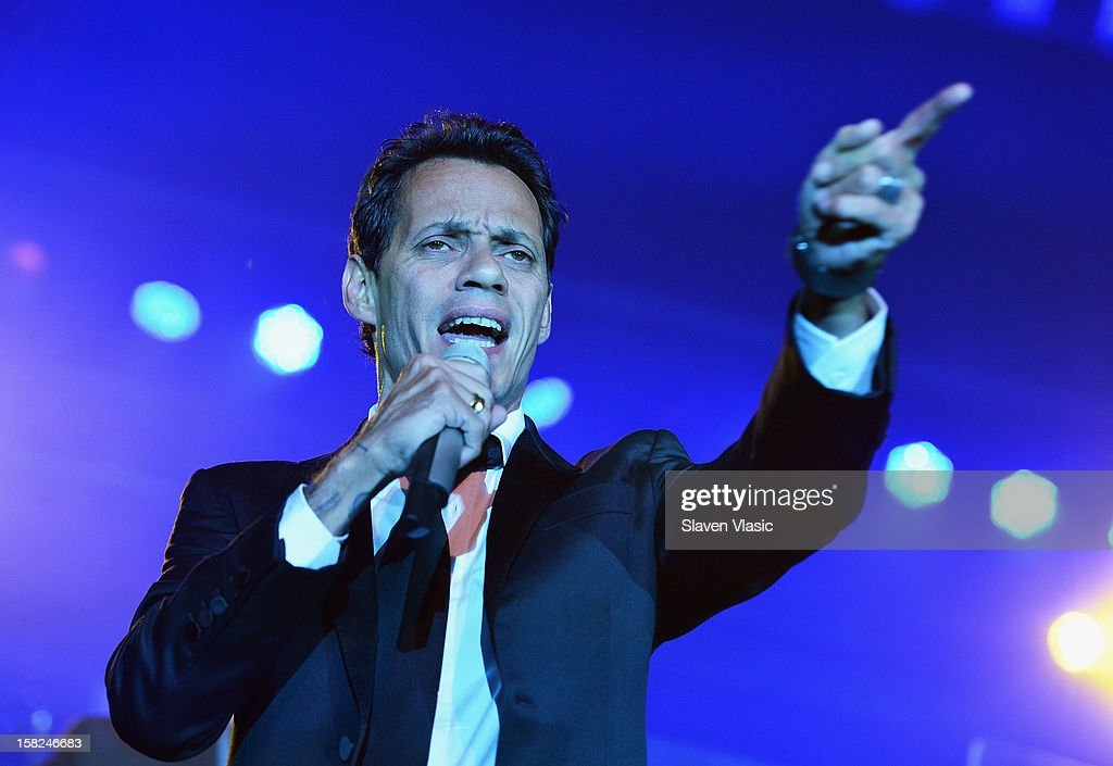 Singer <a gi-track='captionPersonalityLinkClicked' href=/galleries/search?phrase=Marc+Anthony&family=editorial&specificpeople=202544 ng-click='$event.stopPropagation()'>Marc Anthony</a> performs at Happy Hearts Fund Land of Dreams: Mexico Gala at Metropolitan Pavilion on December 11, 2012 in New York City.