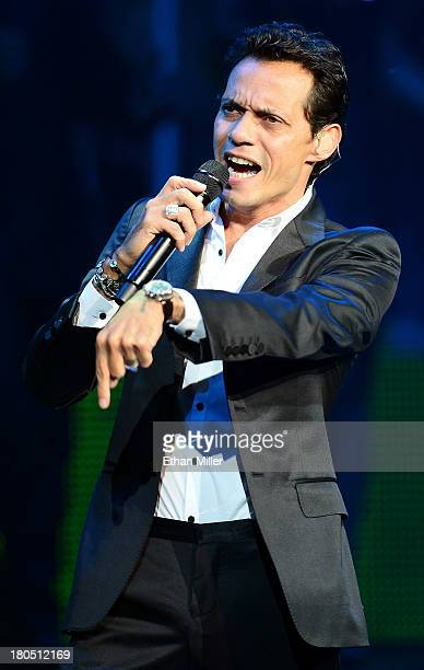 Singer Marc Anthony performs at The Pearl concert theater at the Palms Casino Resort during his Vivir Mi Vida tour on September 13 2013 in Las Vegas...