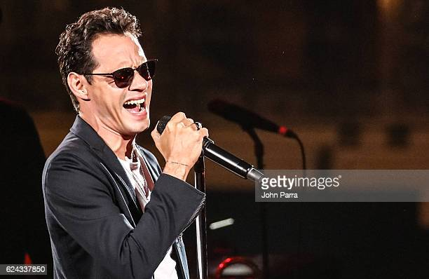 Singer Marc Anthony performs during his tour at American Airlines Arena on November 18 2016 in Miami Florida