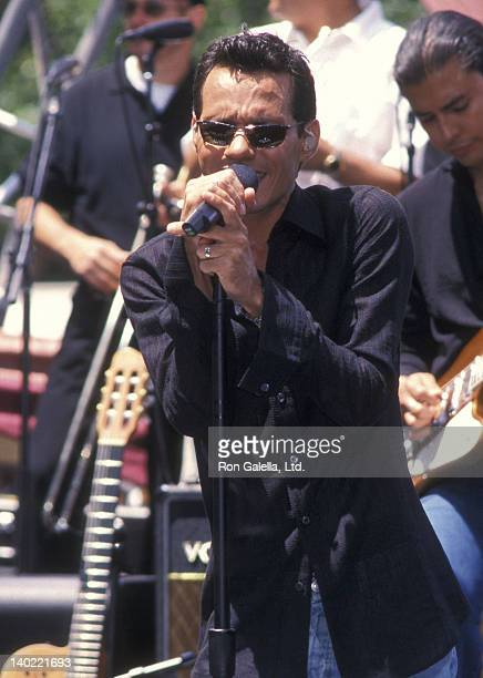 Singer Marc Anthony performs during the 'Summer Concert Series' of 'The Early Show' on May 24 2002 at CBS Studios outside the Trump International...