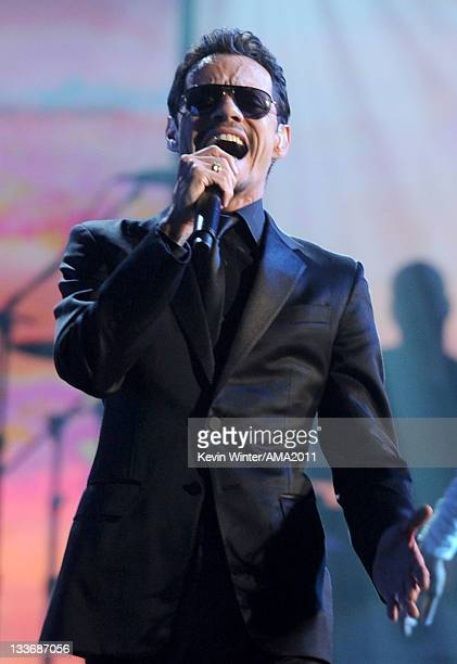 Singer Marc Anthony performs onstage at the 2011 American Music Awards held at Nokia Theatre LA LIVE on November 20 2011 in Los Angeles California