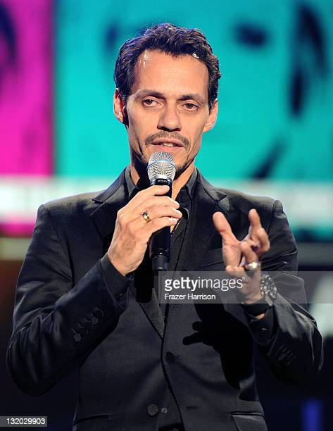 Singer Marc Anthony speaks onstage during the 2011 Latin Recording Academy's Person of the Year honoring Shakira at Mandalay Bay Resort Casino on...