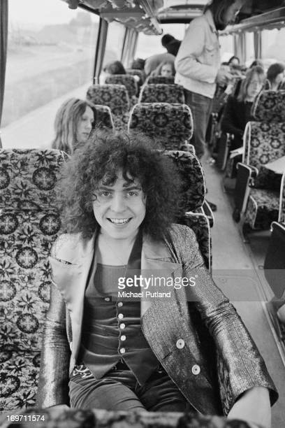 Singer Marc Bolan of English glam rock group TRex on a tour bus during a fourdate British tour June 1972