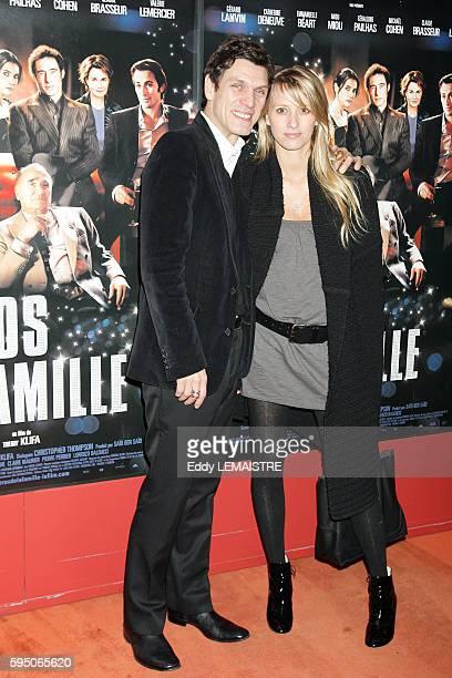 Singer Marc Lavoine and his wife Sarah Poniatowski attend the premiere of 'Le Heros de la famille' in Paris