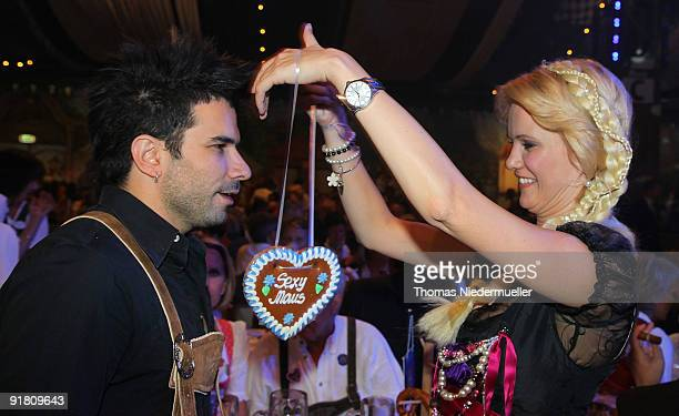 Singer Marc Terenzi and model Monica Ivancan are seen during the celebration of the 60th birthday of Roland Mack at Europapark on October 12 2009 in...