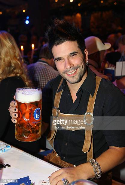 Singer Marc Terenzi cheers during the celebration of the 60th birthday of Roland Mack at Europapark on October 12 2009 in Rust Germany