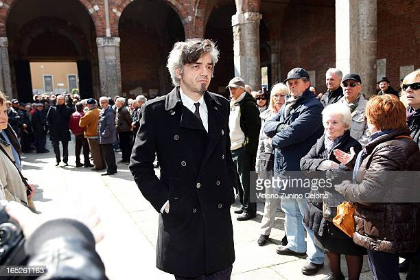 Singer Marco Castoldi known as Morgan attends the funeral of Singer Enzo Jannacci at Basilica di Sant'Ambrogio on April 2 2013 in Milan Italy