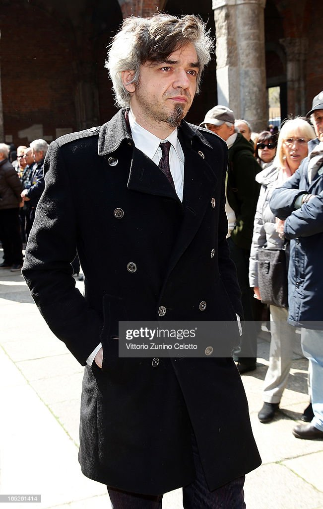 Singer Marco Castoldi known as Morgan attends the funeral of Singer Enzo Jannacci at Basilica di Sant'Ambrogio on April 2, 2013 in Milan, Italy.