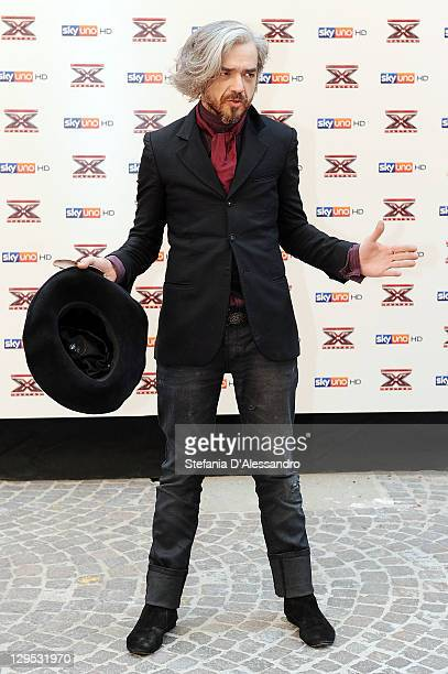Singer Marco Castoldi known as Morgan attends X Factor Press Conference on October 18 2011 in Milan Italy