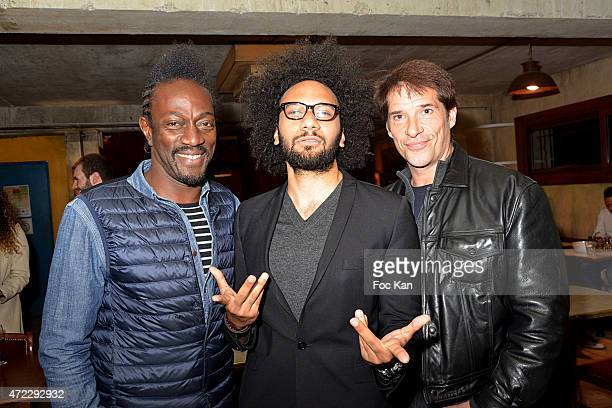 05 05 Singer Marco Prince comedians Yassine Azzouz and Nicky Naude attend the 'Guru' Screening Party at Commune Image Studio on May 5 2015 in Saint...