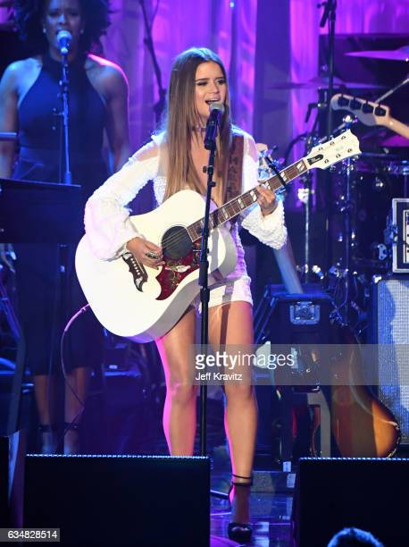 Singer Maren Morris performs onstage during the 2017 PreGRAMMY Gala And Salute to Industry Icons Honoring Debra Lee at The Beverly Hilton Hotel on...
