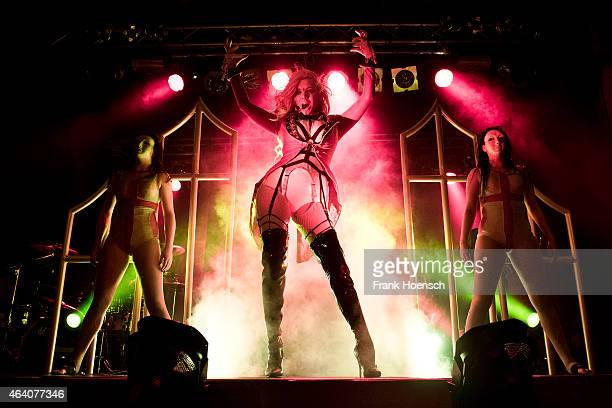 Singer Maria Brink of the American band In This Moment performs live during a concert at the CClub on February 21 2015 in Berlin Germany