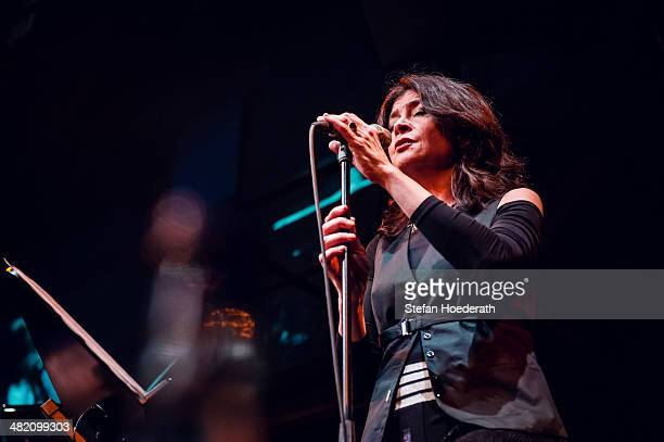 Singer Maria Pia de Vito of Il Pergolese performs live during Yellow Lounge organized by recording label Deutsche Grammophon at Berghain on April 2...