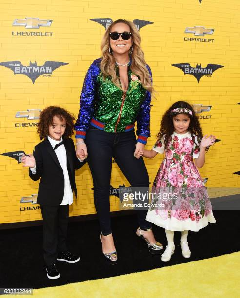 Singer Mariah Carey and her children Moroccan Scott Cannon and Monroe Cannon arrive at the premiere of Warner Bros Pictures' 'The LEGO Batman Movie'...