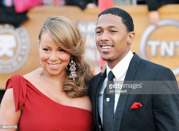 SInger Mariah Carey and husband Nick Cannon arrive at the 16th Annual Screen Actors Guild Awards held at the Shrine Auditorium on January 23 2010 in...