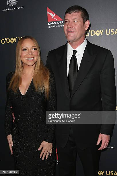 Singer Mariah Carey and James Packer attend the 2016 G'Day Los Angeles Gala at Vibiana on January 28 2016 in Los Angeles California