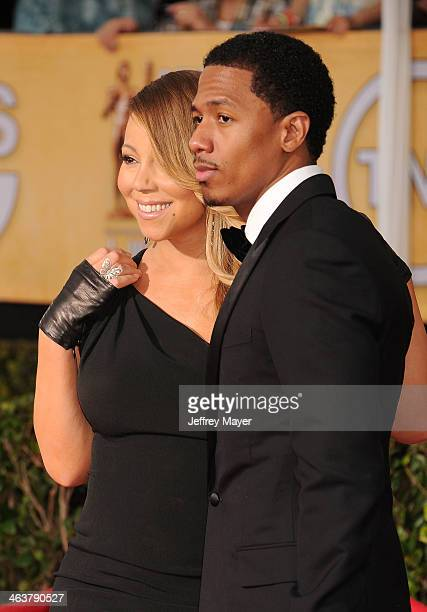 Singer Mariah Carey and TV personality Nick Cannon arrive at the 20th Annual Screen Actors Guild Awards at The Shrine Auditorium on January 18 2014...