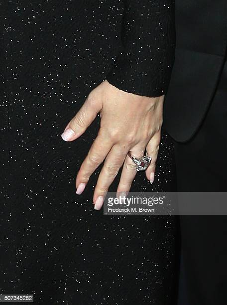 Singer Mariah Carey engagement ring detail attends the 2016 G'Day Los Angeles Gala at Vibiana on January 28 2016 in Los Angeles California