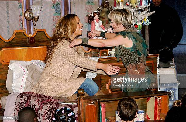 Singer Mariah Carey joins actress Cathy Rigby in a special holiday reading of Peter Pan to Fresh Air Fund children and WKTU contest winners at The...