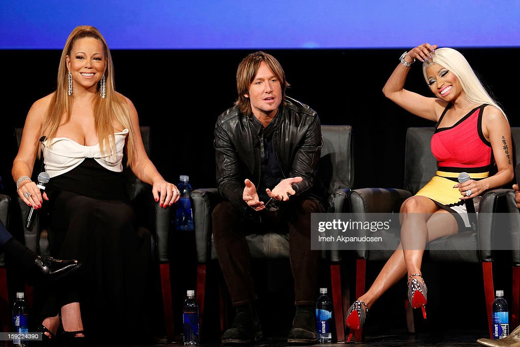 Singer Mariah Carey, musician Keith Urban, and singer Nicki Minaj onstage during a live Q&A during the season premiere screening of Fox's 'American Idol' at Royce Hall, UCLA on January 9, 2013 in Westwood, California.