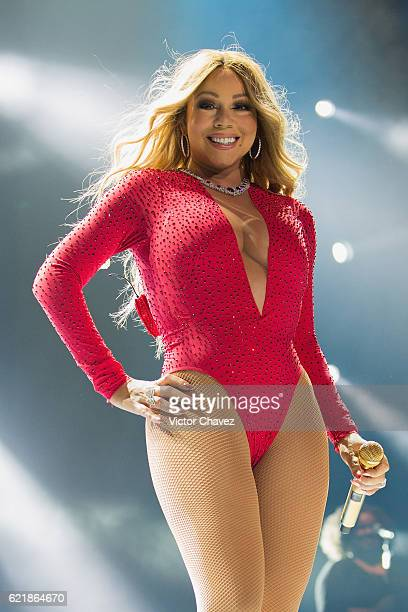 Singer Mariah Carey performs on stage during her 'Sweet Sweet Fantasy Tour' at Arena Ciudad de Mexico on November 8 2016 in Mexico City Mexico