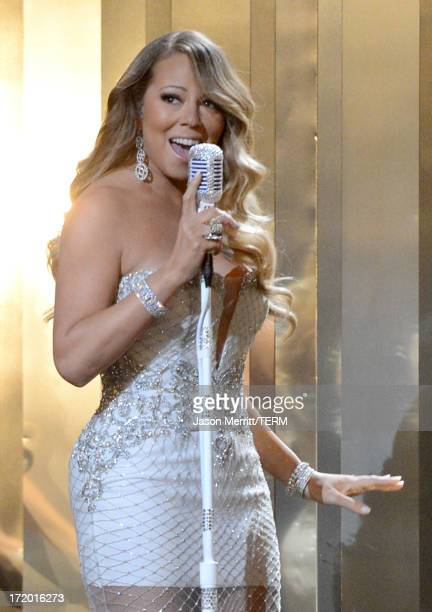Singer Mariah Carey performs onstage during the 2013 BET Awards at Nokia Theatre LA Live on June 30 2013 in Los Angeles California