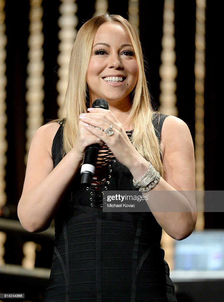 Singer Mariah Carey performs onstage during the Venice Family Clinic Silver Circle Gala 2016 honoring Brett Ratner and Bill Flumenbaum at The Beverly Hilton Hotel on March 7, 2016 in Beverly Hills, California.