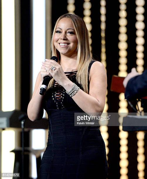 Singer Mariah Carey performs onstage during the Venice Family Clinic Silver Circle Gala 2016 honoring Brett Ratner and Bill Flumenbaum at The Beverly...