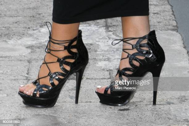 Singer Mariah Carey shoe detail leaves the Plaza Athenee Dorchester Collection Hotel on Avenue Montaigne on June 24 2017 in Paris France