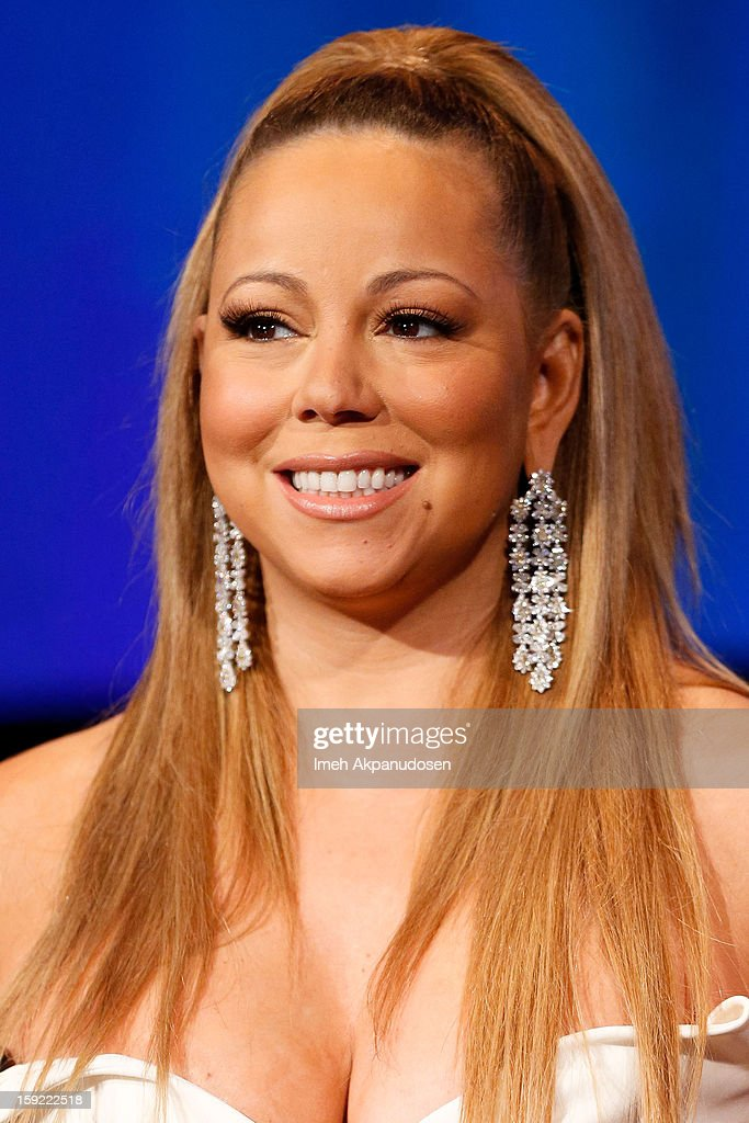 Singer <a gi-track='captionPersonalityLinkClicked' href=/galleries/search?phrase=Mariah+Carey&family=editorial&specificpeople=171647 ng-click='$event.stopPropagation()'>Mariah Carey</a> speaks during a live Q&A during the season premiere screening of Fox's 'American Idol' at Royce Hall, UCLA on January 9, 2013 in Westwood, California.