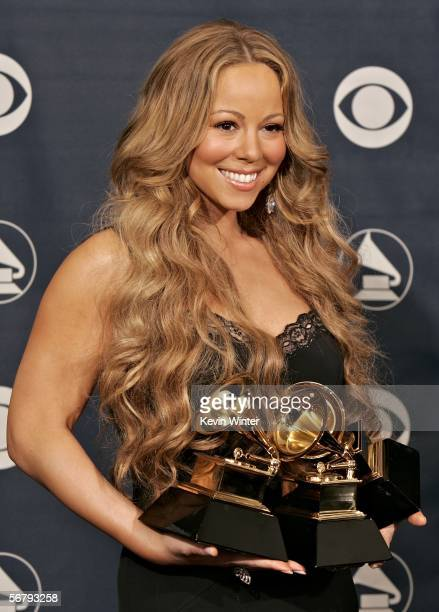 Singer Mariah Carey with her awards for Best Female RB Vocal Performance Best Contemporary RB Album and Best RB Song poses in the press room at the...