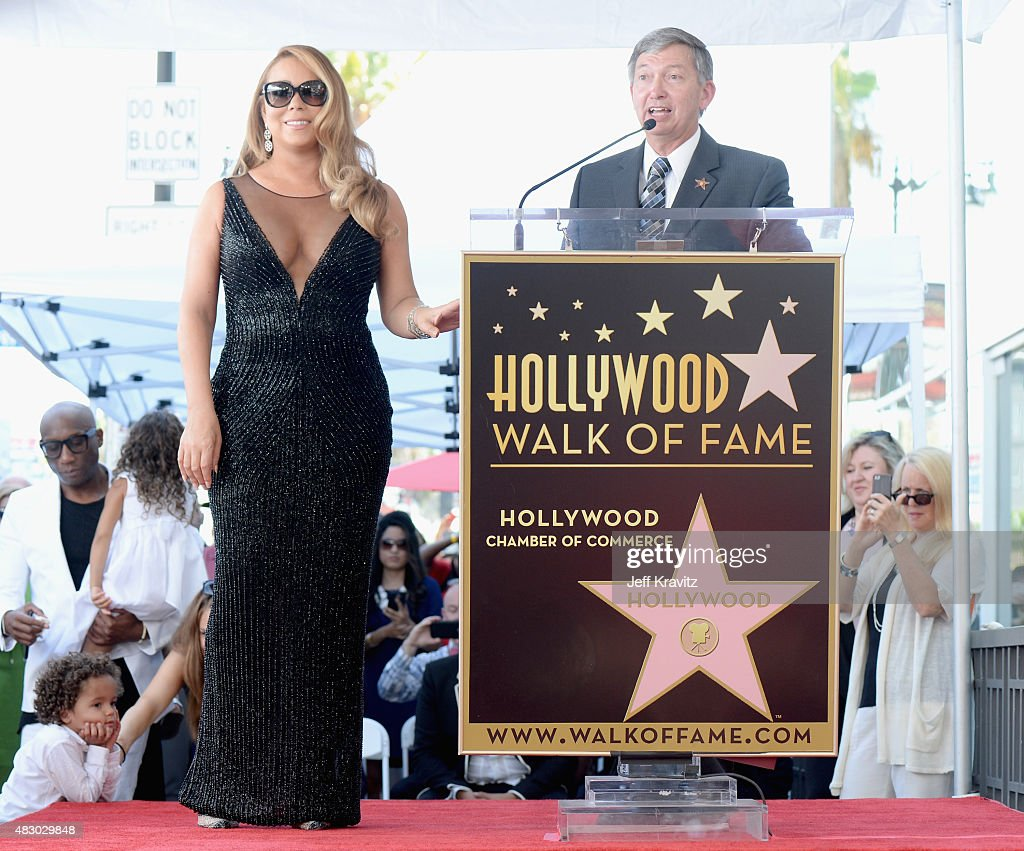 Singer Mariah Carey with Hollywood Chamber of Commerce President/CEO Leron Gubler is honored with Star on The Hollywood Walk of Fame on August 5 2015...