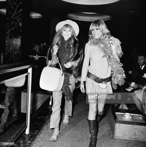 Singer Marianne Faithfull and actress Anita Pallenberg at Heathrow Airport to fly to Tangiers with their Rolling Stones boyfriends 11th March 1967