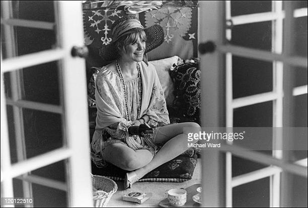 Singer Marianne Faithfull at a house in Marylebone Road 1967