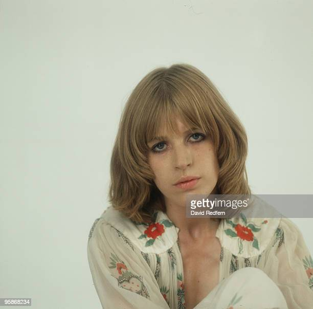 Singer Marianne Faithfull poses in a dress by Ossie Clark in 1973