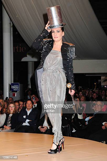Singer Marie Amelie Seigner dressed by Pierre Marcolini and Ekyog attends the Salon Du Chocolat 2010 Opening Night at the Parc des Expositions Porte...