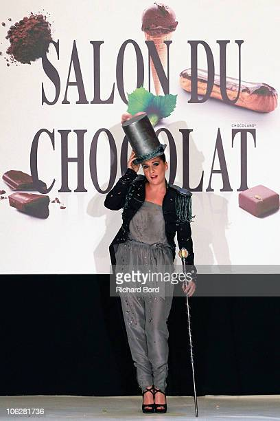 Singer MarieAmelie Seigner dressed by Pierre Marcolini and Ekyog walks the runway at the Salon Du Chocolat 2010 Opening Night at the Parc des...