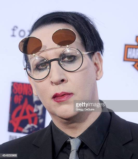 Singer Marilyn Manson arrives at FX's 'Sons Of Anarchy' premiere at TCL Chinese Theatre on September 6 2014 in Hollywood California